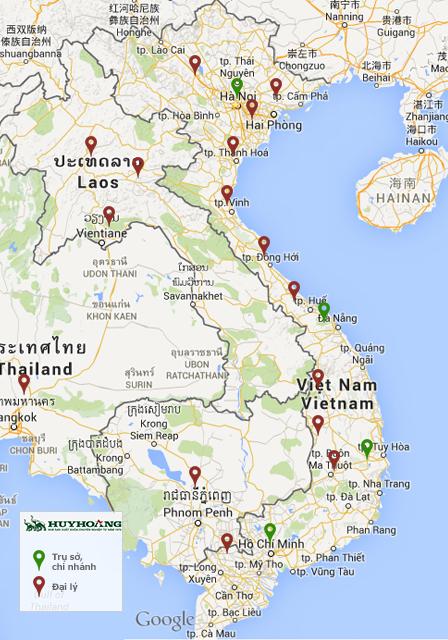 Bản đồ đại lý, chi nhánh Huy Hoàng trên toàn quốc